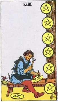 8 pentacles Rider-Waite pack