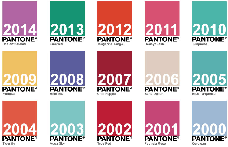 Colours of 2014, 2013, 2012, 2011, 2010, 2009, 2008, 2007, 2006, 2005, 2004, 2003, 2002, 2001, 2000