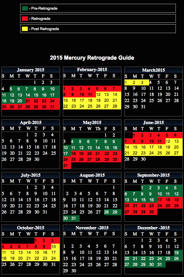 ... , Printable 2016 Mercury Retrograde Calendar | Calendar Template 2016