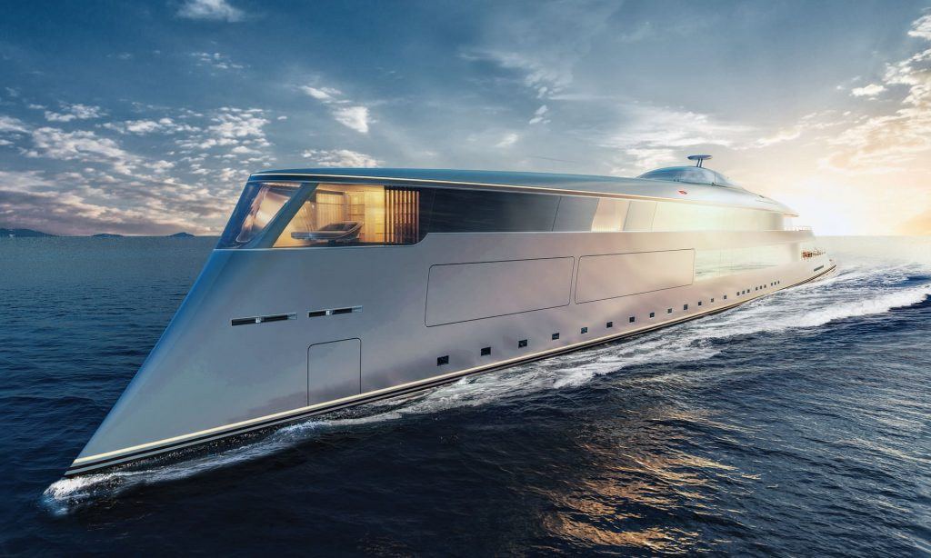 The 'Aqua' superyacht powered by liquid hydrogen - a snip at £500m. It can travel 3,750 miles before it needs to refuel. Photograph: Sinot/Cover Images