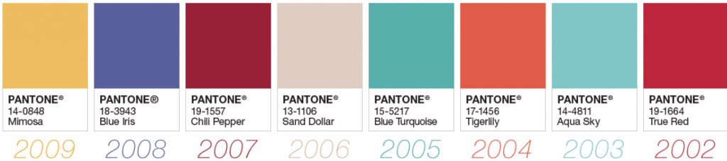 Colours of the year 2002-2009