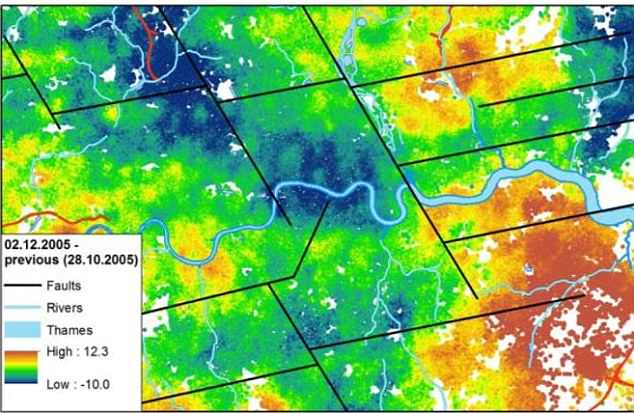 This image shows ground movement in London between October and December 2005 with known faults shown by the black lines