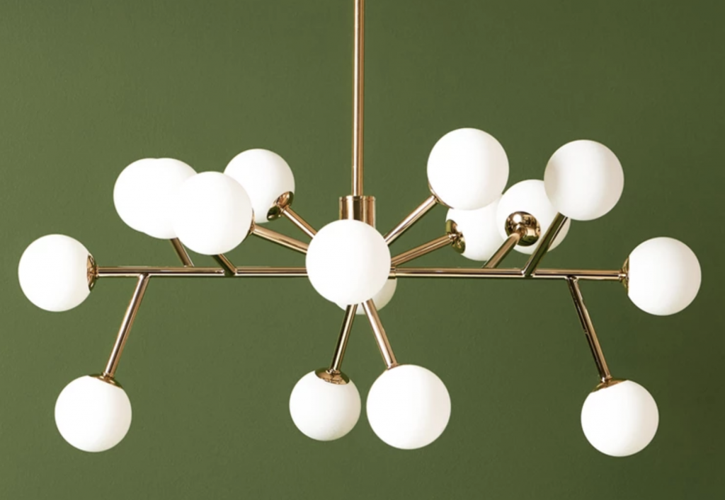 sputnik flush ceiling light brass