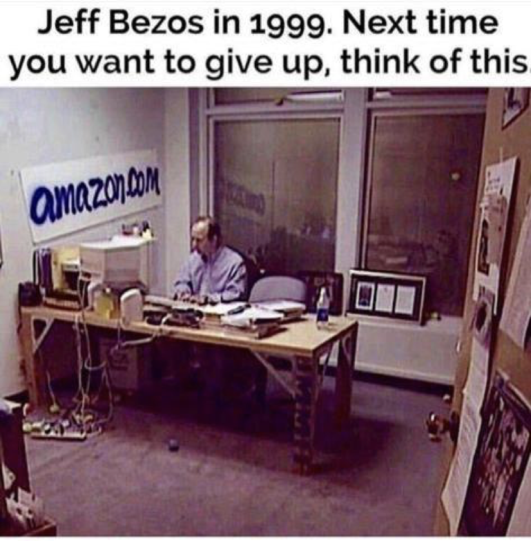 Jeff Bezos is famously frugal, reusing old doors as desktops.